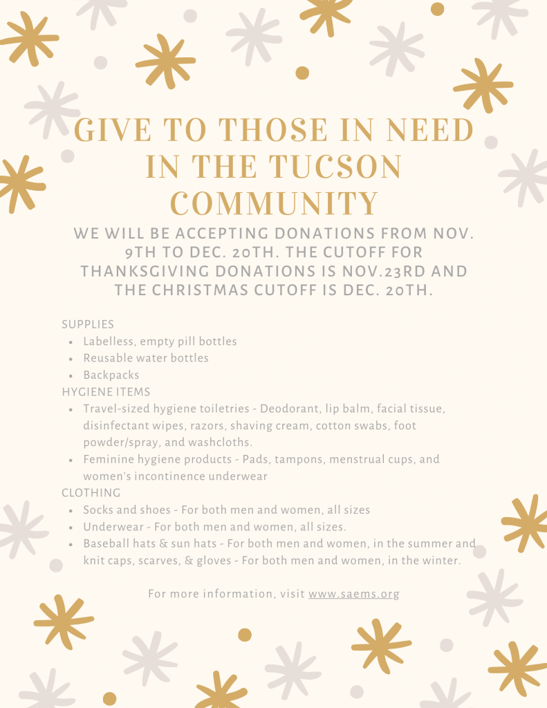 Holiday community drive benefitting those in need around Tucson.