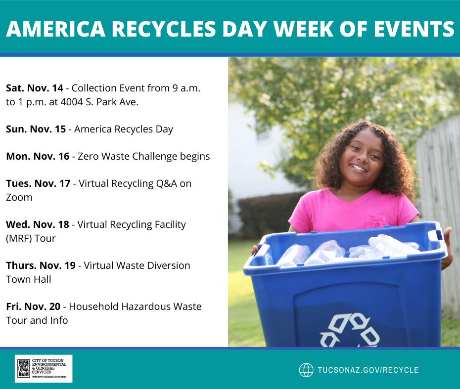 America Recycles Day Schedule of Events flyer